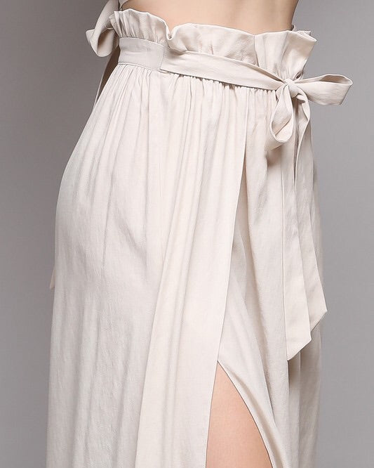 SELENA TIE WAIST SKIRT WITH SLITS