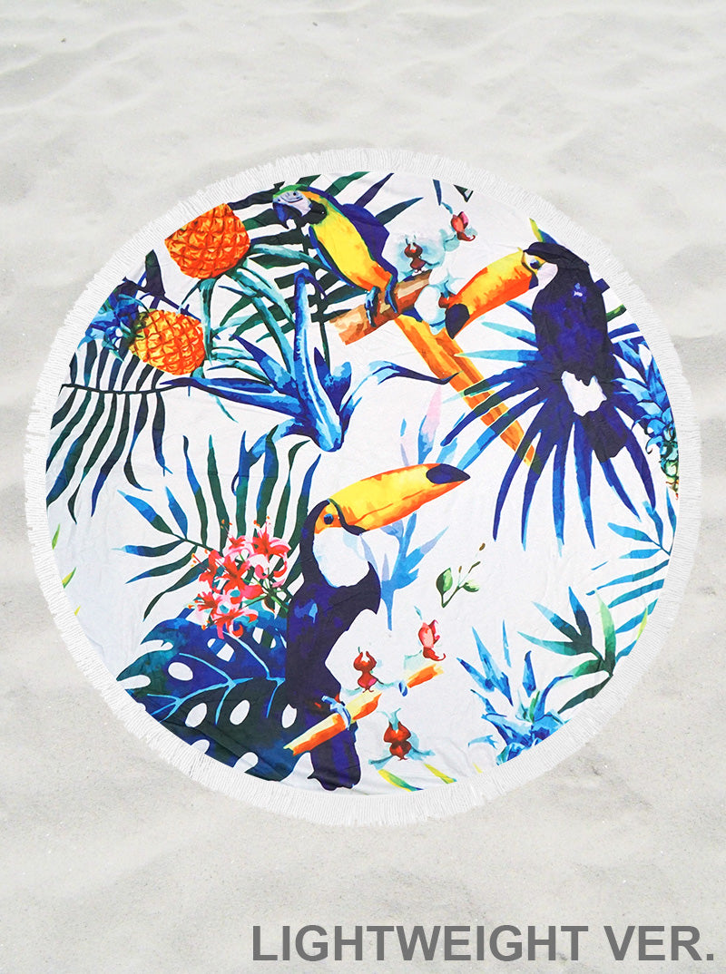 tropical print round beach Terry towel