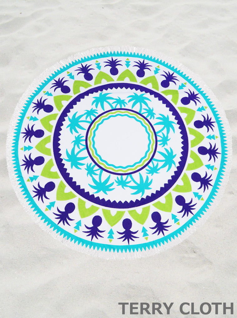 PALM TREE & PINEAPPLE ROUND TERRY BEACH TOWEL