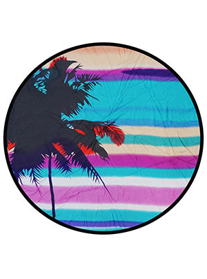 palm tree beach scene round beach blanket