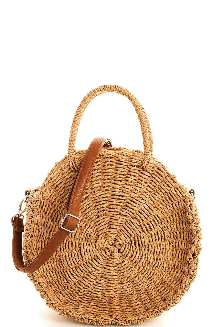 HEIDI WOVEN STRAW CIRCLE HANDBAG WITH STRAP