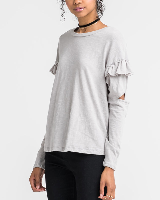 KATIE RUFFLE SLEEVE CUT OUT TOP
