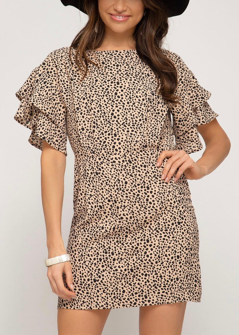 SCOTTY RUFFLE LEOPARD DRESS