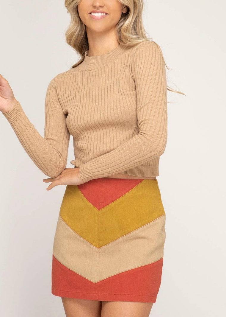 WILLA COLOR-BLOCK SKIRT