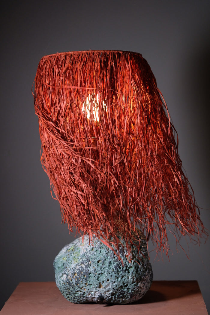 Pacific Lamp with Brick Red Raffia Shade