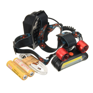BIKIGHT 1300LM 2T6 COB LED 4 Modes Headlamp Life Waterproof USB Rechargeable