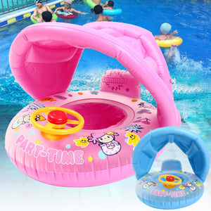 Inflatable Sunshade Baby Kids Water Float Seat Boat Swimming Ring Pool Fun