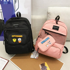 2Pcs/set 27L Outdoor Travel Oxford Backpack Rucksack School Shoulder Bag Handbag+ Pencil Pack