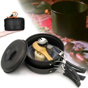 1-2 People Portable Cookware Set Backpacking Gas Butane Propane Canister Cooking Stove Burner Set Pot Pan Bowl Picnic BBQ Tableware