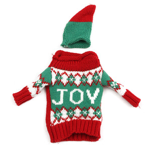 Christmas Knitted Sweater Lid Hat Wine Bottle Cover Wrap Bag Xmas Decoration