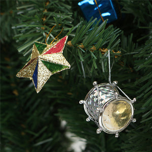 18PCS Christmas Party Home Decoration Colorful Ball Five-Pointed Star Ornament Toys For Kids Gift