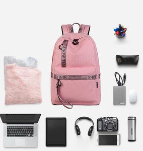 18L 15 Inch Laptop Backpack Portable Polyester Anti-Theft USB Bag Pack Waterproof Camping Travel Bag