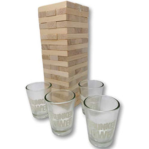 EKNA Drunken Tower Trinkspiel - Jenga Trinkspiel - Premium Qualität - Wackelturm 4 in 1 (Inkl. 4 Trinkgläser 4cl.)-HOME_FURNITURE_AND_DECOR-EKNA GmbH & Co. KG