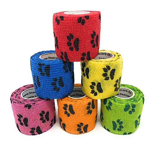 LisaCare 6er-Set Bunter Pfoten-Mix 5cm breit-PET_SUPPLIES-EKNA GmbH & Co. KG