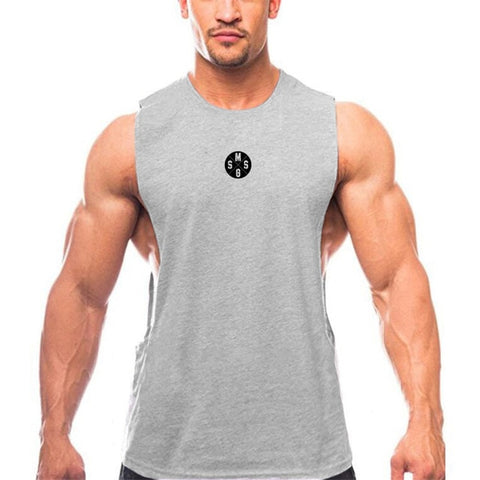 6012d2db3c7 ... Muscleguys Mens Casual Loose Fitness Tank Tops For Male Summer Open  side Sleeveless Active Muscle Shirts