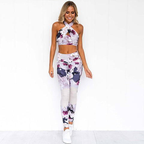classic style select for official top-rated fashion Print Splice Sport Suit Women Active Wear Women Workout Clothes Fitness  Legging Set Workout Set Clothes Women Sports Clothing