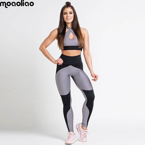 1b5c94f1274d4e Yoga Set Women Gym Clothing Ombre Seamless Leggings+Cropped Shirts Workout  Sport Suit Women Long