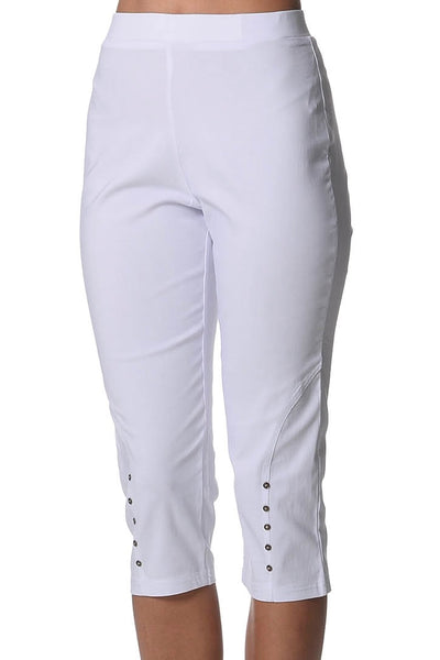 White Button Bengaline Pants - at I Love Tunics @ www.ilovetunics.com = Number One! Tunics Destination
