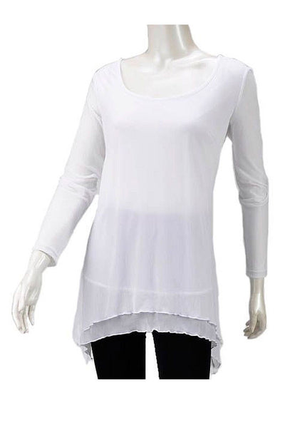 White Long Sleeve Mesh Tunic