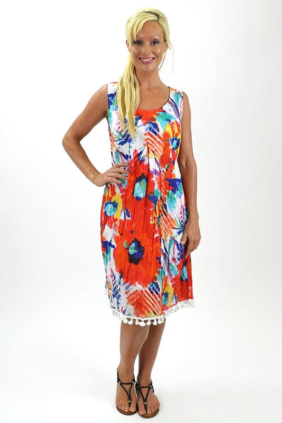 Cotton Orange Floral Tunic Dress