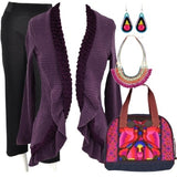 Purple Frilled Hem Cardigan - at I Love Tunics @ www.ilovetunics.com = Number One! Tunics Destination