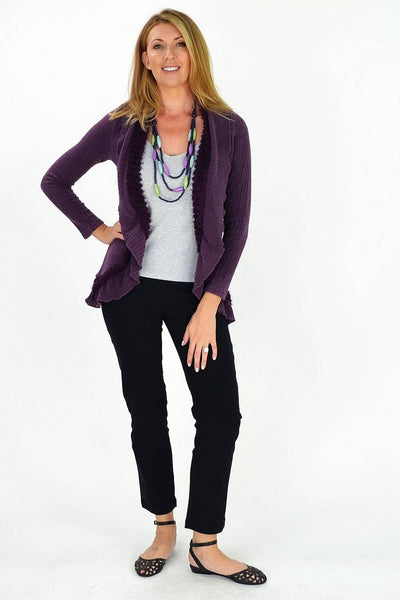 Purple Frilled Hem Cardigan