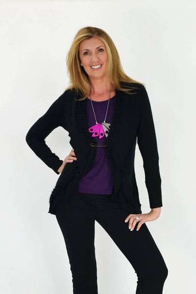 Black Frilled Hem Cardigan - at I Love Tunics @ www.ilovetunics.com = Number One! Tunics Destination