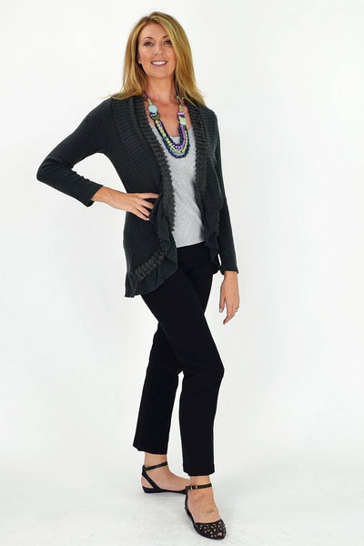 Grey Frilled Hem Cardigan