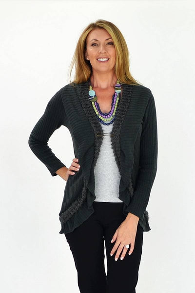 Grey Frilled Hem Cardigan - at I Love Tunics @ www.ilovetunics.com = Number One! Tunics Destination