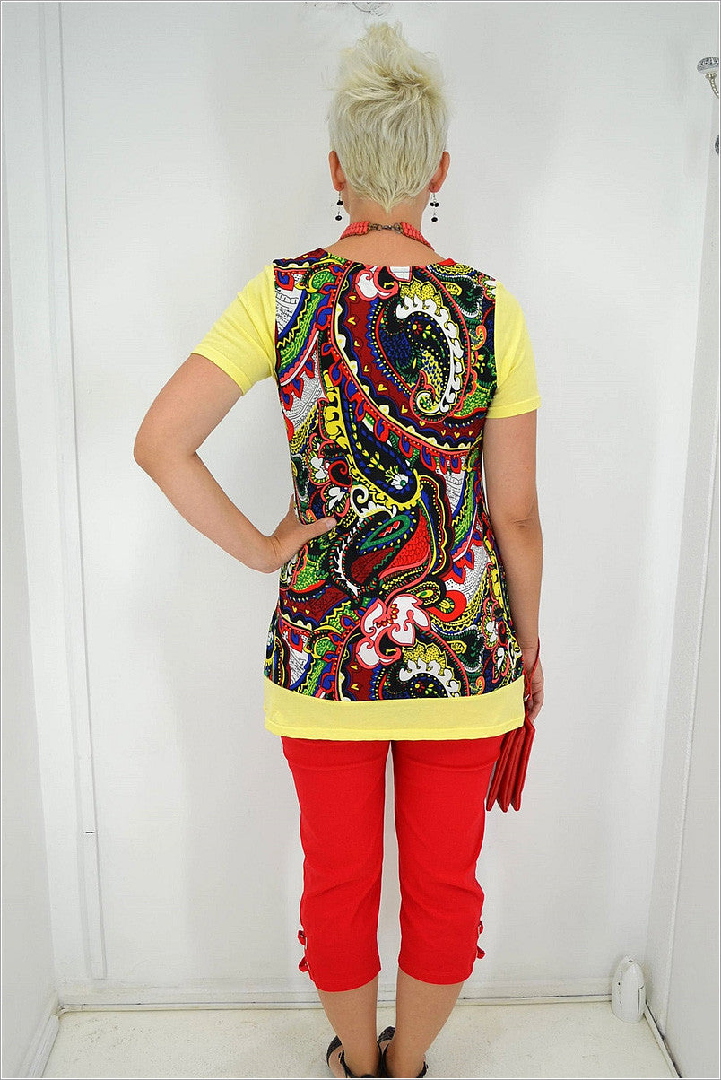 Yellow Paisley Tunic - at I Love Tunics @ www.ilovetunics.com = Number One! Tunics Destination