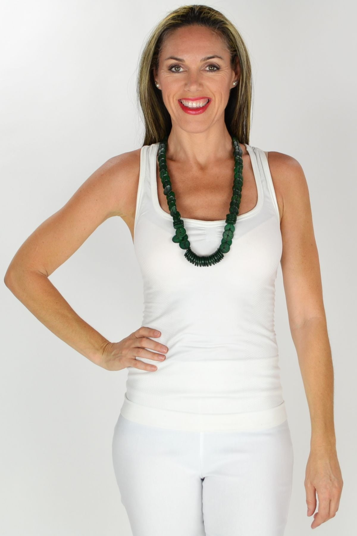 Dark Green Wooden Disks Necklace | I Love Tunics | Tunic Tops | Tunic | Tunic Dresses  | womens clothing online