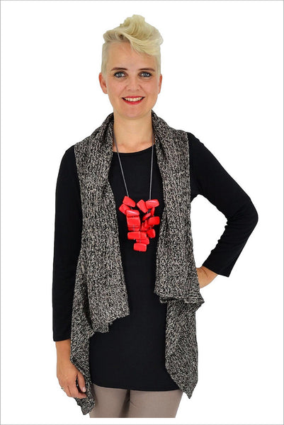 Black White Knit Vest - at I Love Tunics @ www.ilovetunics.com = Number One! Tunics Destination