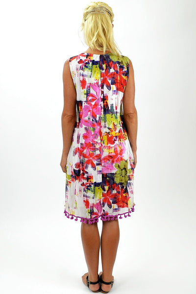 Cotton Pink Floral Tunic Dress - I Love Tunics @ www.ilovetunics.com