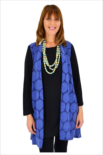 Blue Spotty Long Vest - at I Love Tunics @ www.ilovetunics.com = Number One! Tunics Destination