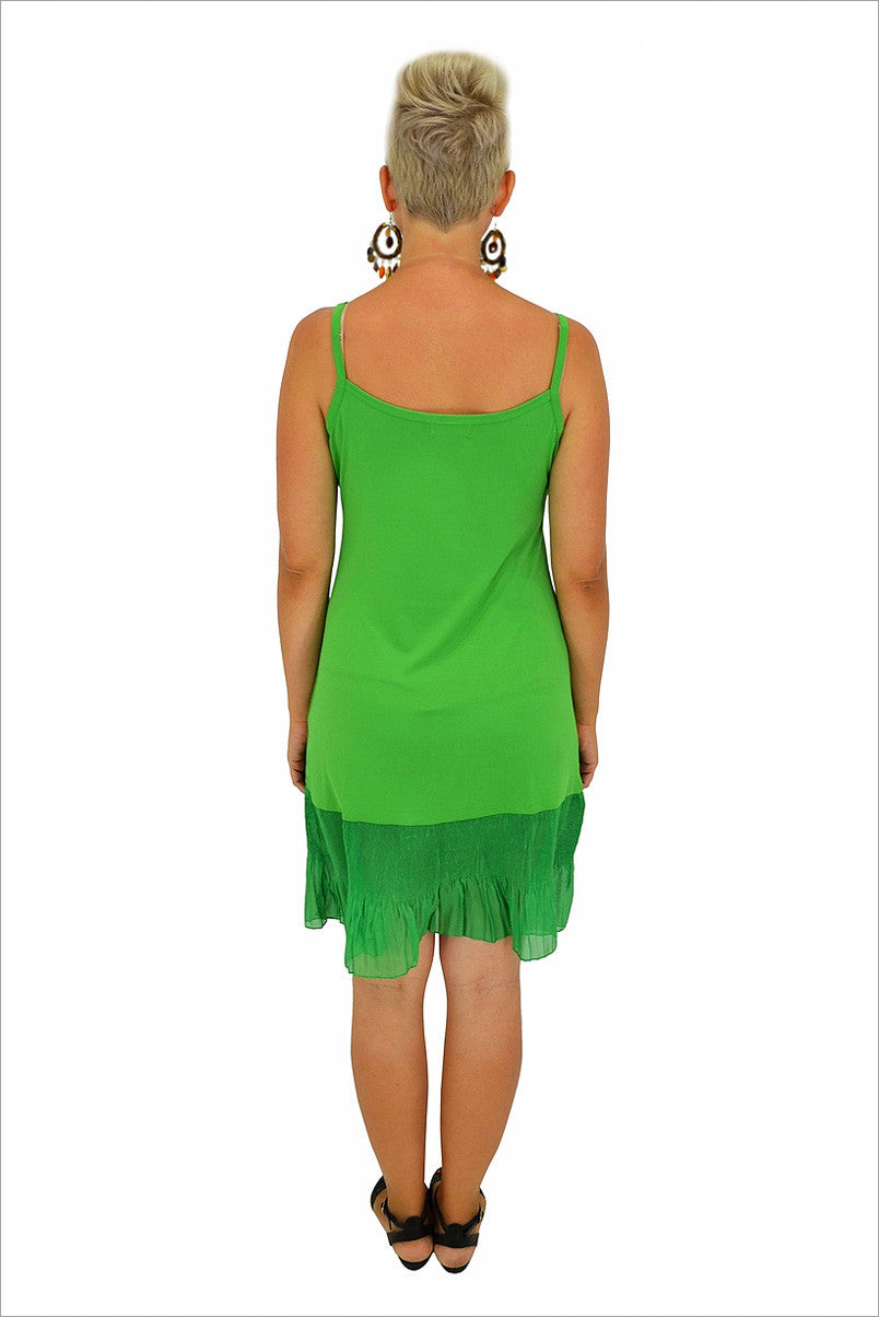 Green Frill Sleeveless Slip - at I Love Tunics @ www.ilovetunics.com = Number One! Tunics Destination