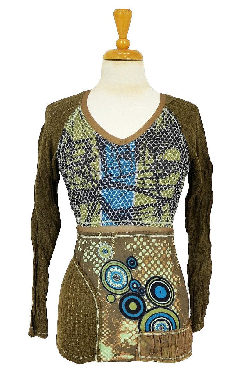Khaki Tie Crinkle Tunic - at I Love Tunics @ www.ilovetunics.com = Number One! Tunics Destination