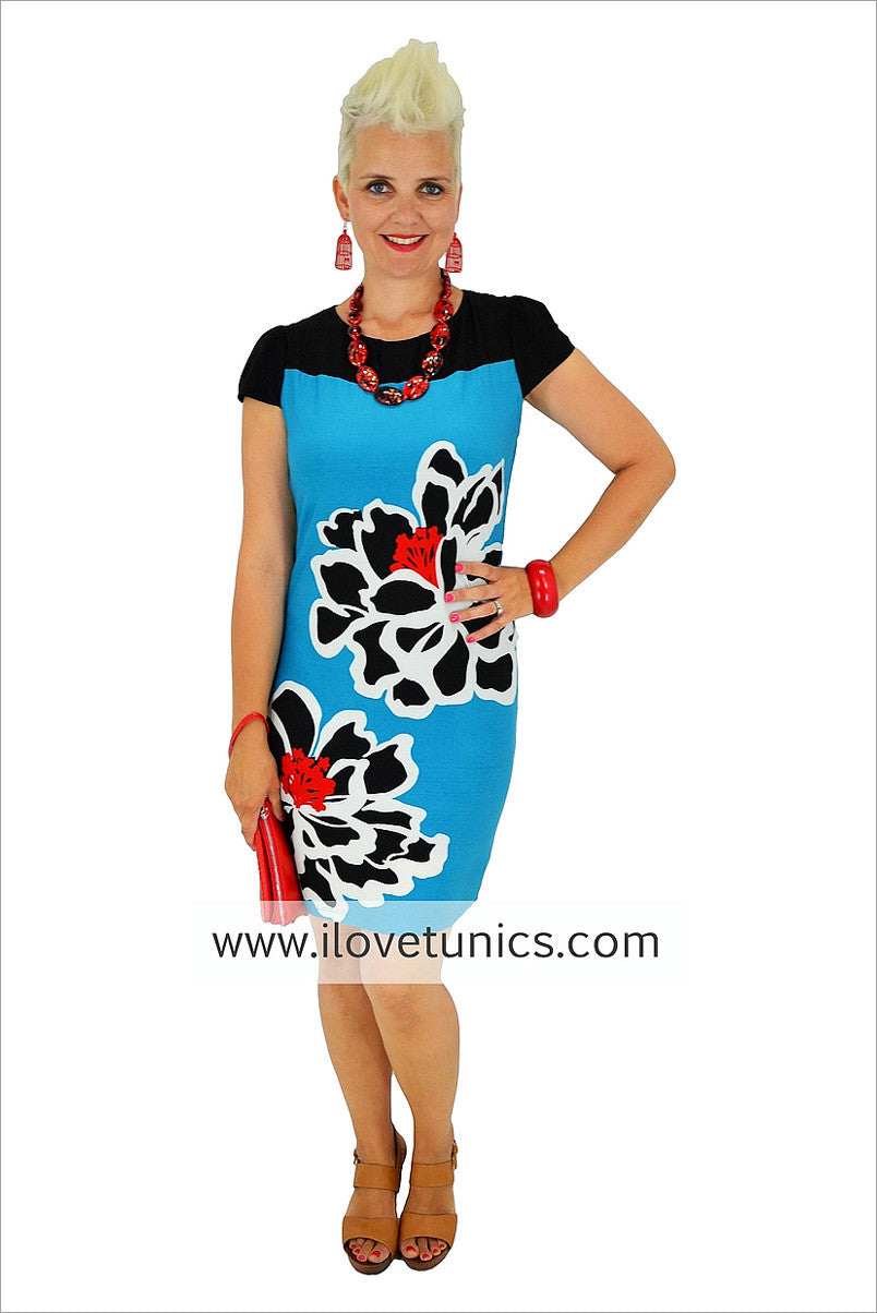 Turquoise Flower Tunic - at I Love Tunics @ www.ilovetunics.com = Number One! Tunics Destination