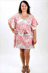 Red Mediterranean Kaftan - at I Love Tunics @ www.ilovetunics.com = Number One! Tunics Destination