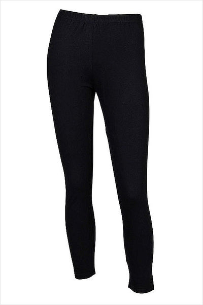 Long Winter Weight Black Cotton Leggings