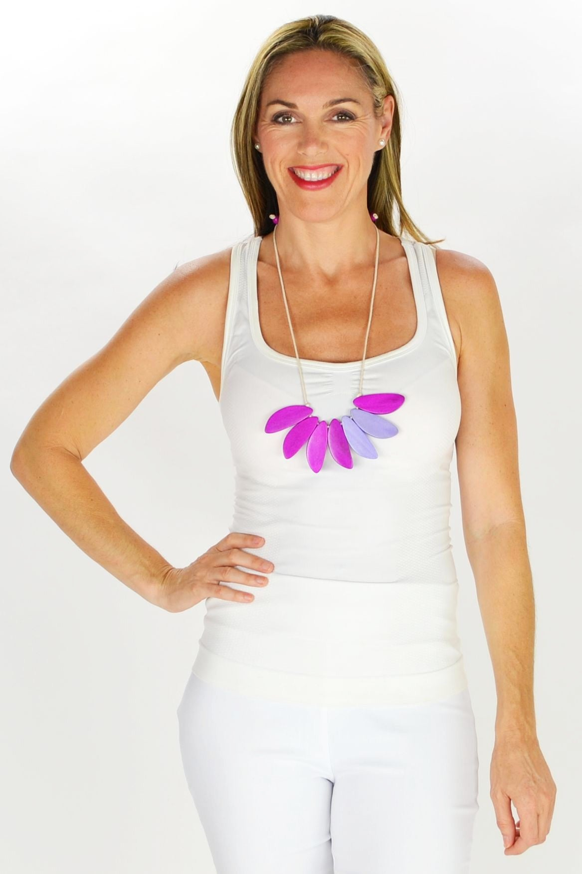 Purple Petals Necklace - at I Love Tunics @ www.ilovetunics.com = Number One! Tunics Destination
