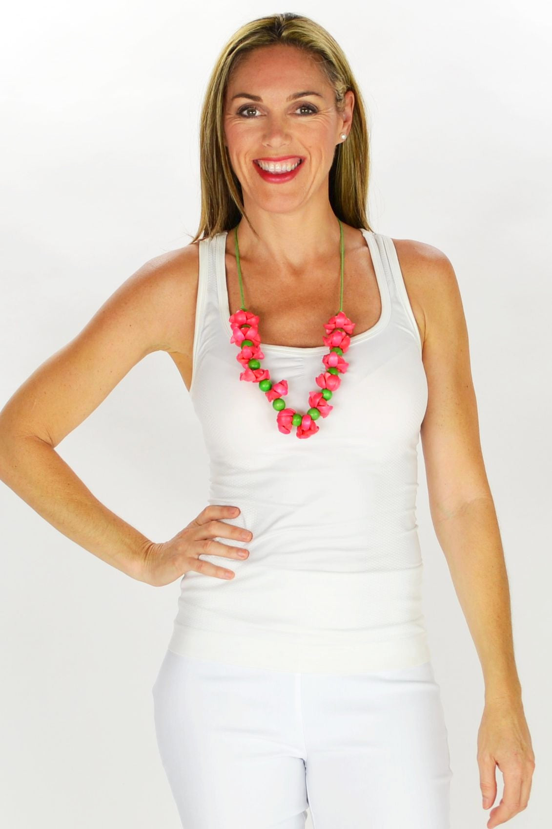 Pink Flower Necklace - at I Love Tunics @ www.ilovetunics.com = Number One! Tunics Destination