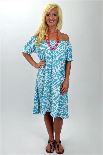 Aqua White Pattern Tunic