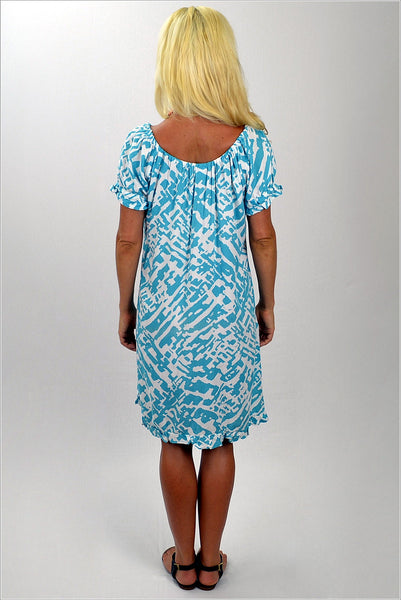 Aqua White Pattern Tunic - at I Love Tunics @ www.ilovetunics.com = Number One! Tunics Destination
