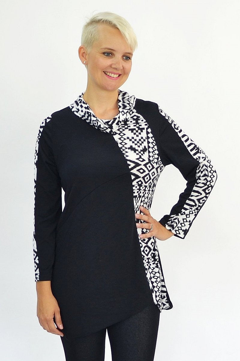 Black White Tribal Tunic | I Love Tunics | Tunic Tops | Tunic Dresses | Women's Tops | Plus Size Australia | Mature Fashion
