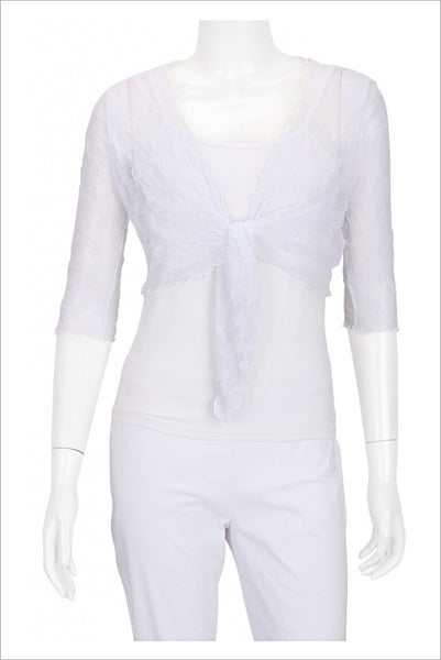 White Crinkle Mesh Cardigan - at I Love Tunics @ www.ilovetunics.com = Number One! Tunics Destination