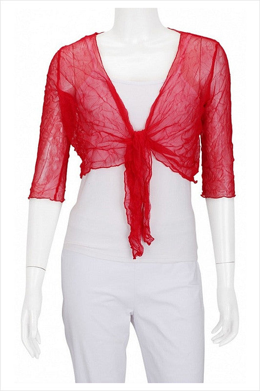 Red Crinkle Mesh Cardigan - at I Love Tunics @ www.ilovetunics.com = Number One! Tunics Destination