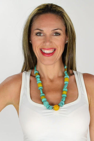 Turquoise and Yellow Stone Necklace