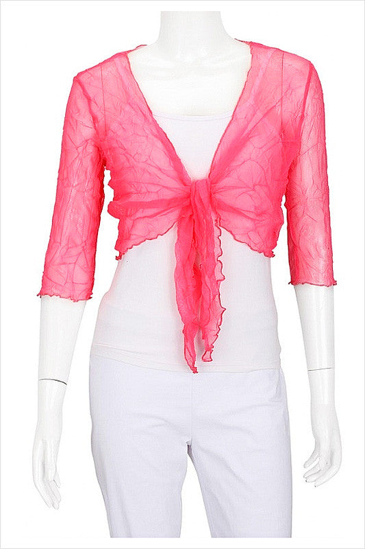 Pink Crinkle Mesh Cardigan - at I Love Tunics @ www.ilovetunics.com = Number One! Tunics Destination