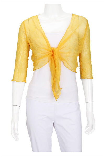 Yellow Crinkle Mesh Cardigan