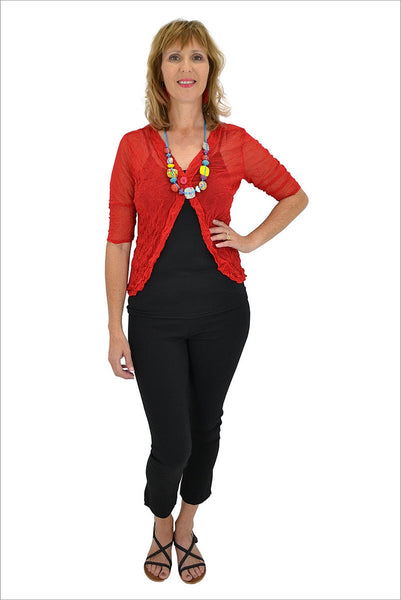 Red One Button Mesh Cardigan